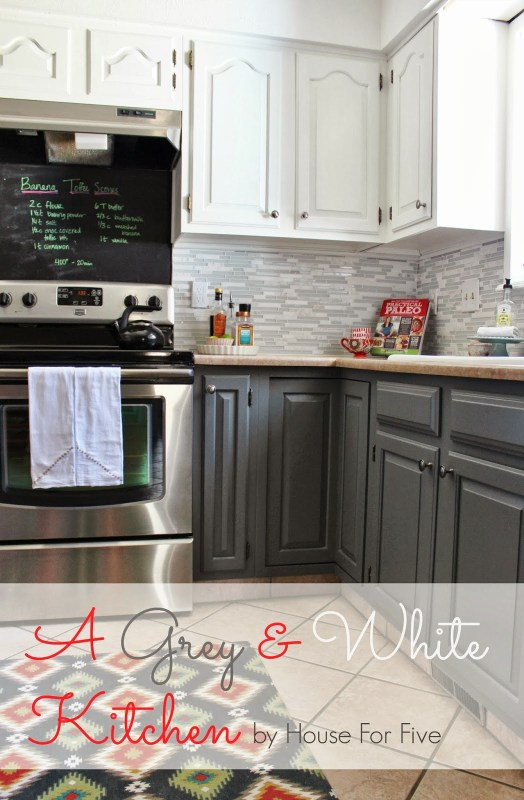 grey and white kitchen makeover, House For Five featured on Remodelaholic