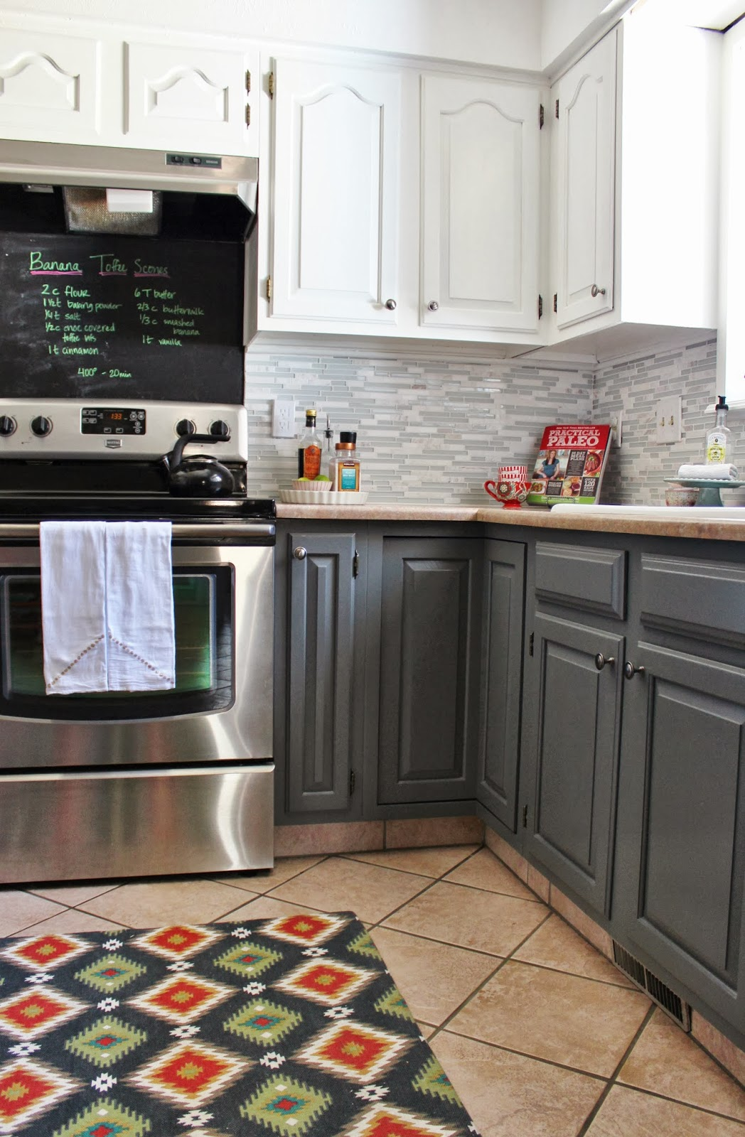 Grey And White Kitchen Makeover With Tile Backsplash And Chalkboard, House  For Five Featured On