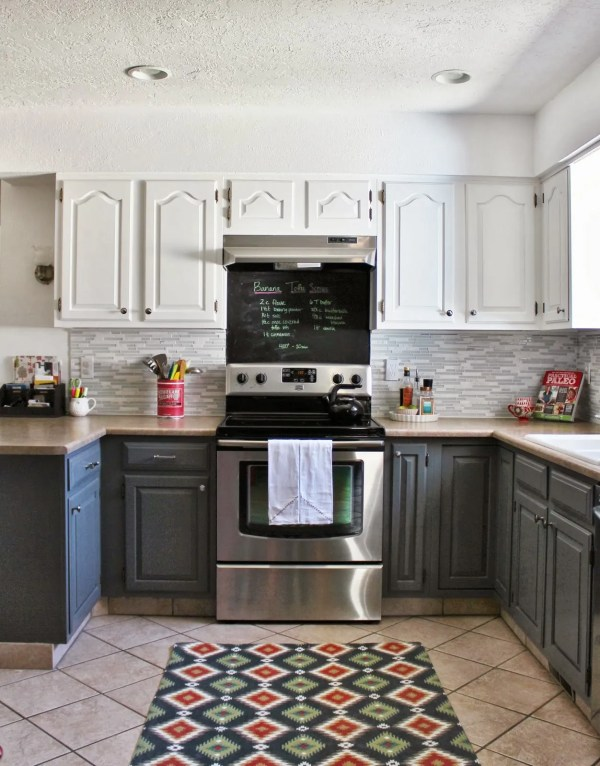grey and white kitchen with tile backsplash and chalkboard, House For Five featured on Remodelaholic