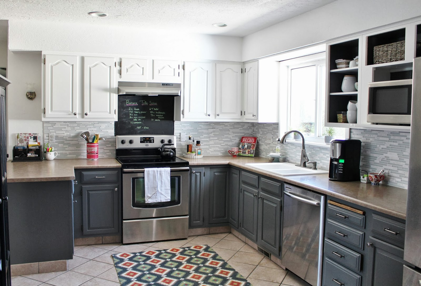 Remodelaholic Grey And White Kitchen Makeover - Refinishing kitchen cabinets grey