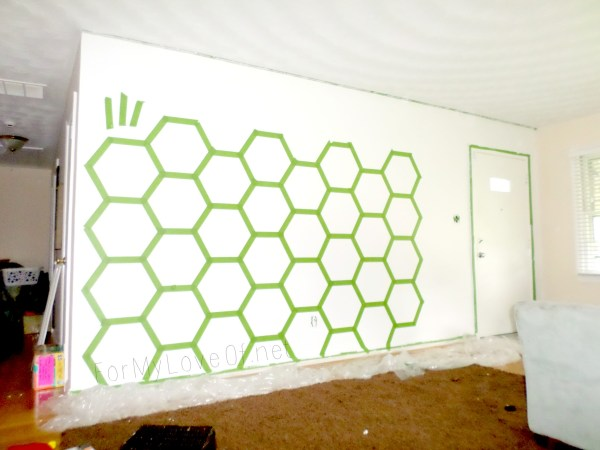 how to tape and paint a hexagon accent wall, For My Love Of featured on Remodelaholic