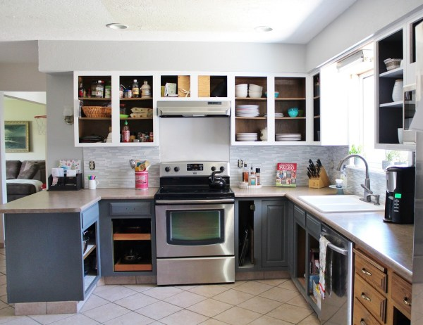 new range hood in grey and white kitchen, House For Five featured on Remodelaholic