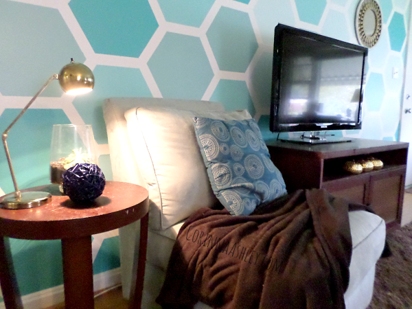 painted hexagon accent wall with tv and end table, For My Love Of featured on Remodelaholic