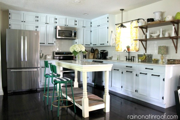 1960's Renovated Ranch Kitchen Tour | Rain On A Tin Roof featured on Remodelaholic.com #kitchentour #renovation #whitekitchen #kitchenisland