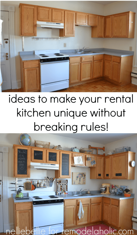 Great ideas to personalize your rental kitchen from NellieBellie at Remodelaholic.com #rentaldecor #kitchen #decorate