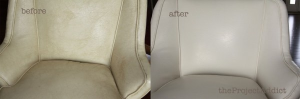 restoring a leather chair, The Project Addict featured on Remodelaholic