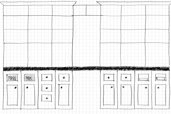 sketch of built-in bookcase and desk, Home Is Where My Heart Is featured on Remodelaholic