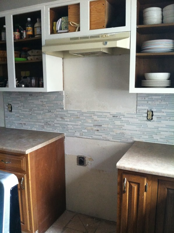 tile backsplash in grey and white kitchen makeover, House For Five featured on Remodelaholic