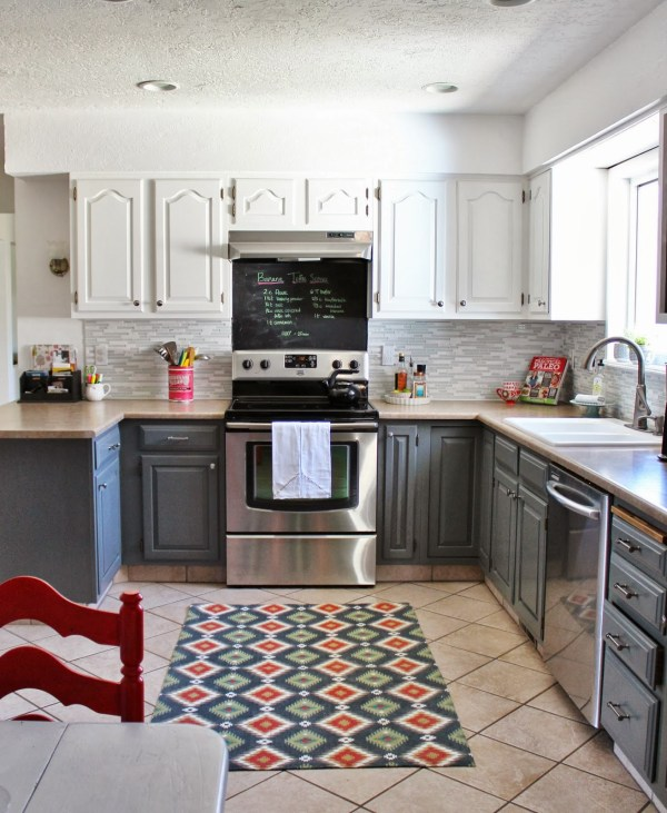 two-tone grey and white kitchen makeover, House For Five featured on Remodelaholic