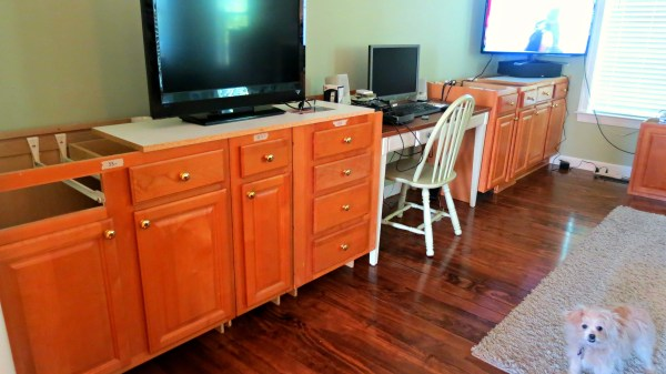 use existing cabinets as base of built-in desk, Home Is Where My Heart Is featured on Remodelaholic