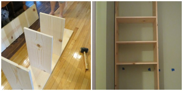 use router for shelf slots in a built-in bookcase, Home Is Where My Heart Is featured on Remodelaholic