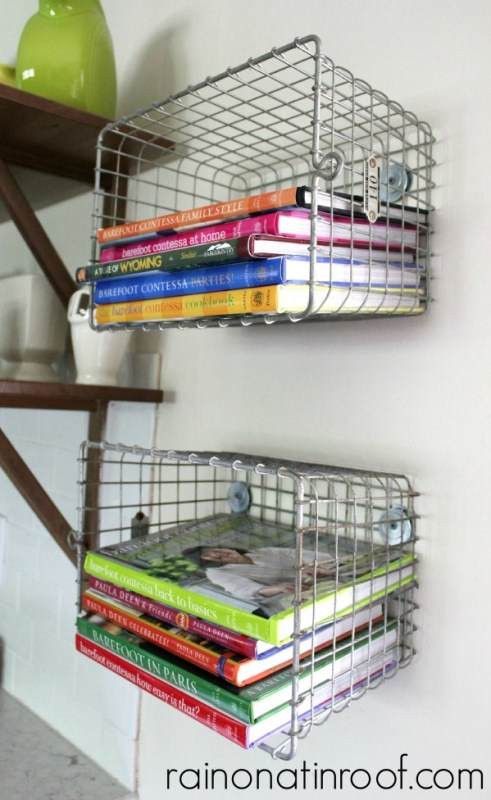 wire basket shelving to hold cookbooks in the kitchen, Rain On A Tin Roof featured on Remodelaholic