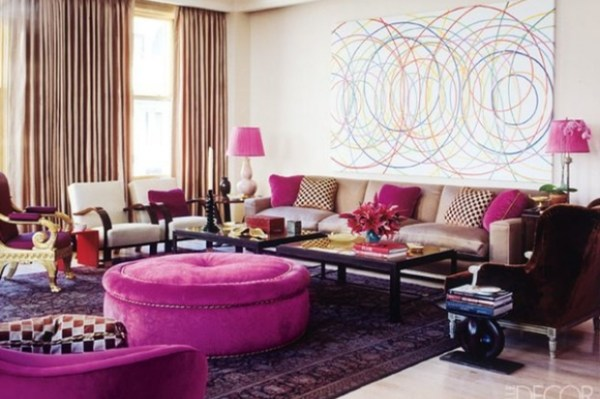 fuchsia jewel toned room