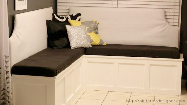 BUild Your Own Custom Banquette Corner Bench Featured On Remodelaholic.com