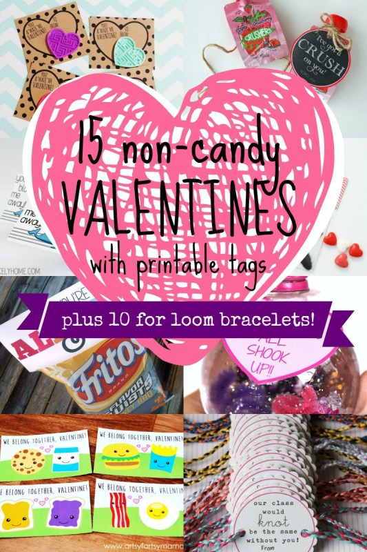 25 Non-Candy Valentines for Kids - Including Loom Bracelets! #valentines #sugarfree #loombracelet #printable Remodelaholic.com