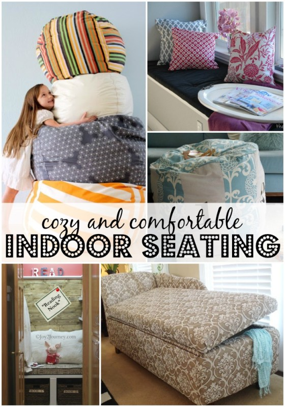 Comfortable Indoor Seating Ideas and Tutorials | Remodelaholic.com #floorpouf #seating #cozy #readingnook