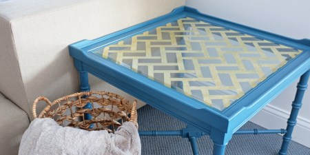 DIY Gold Leaf Glass Table Top on Remodelaholic.com