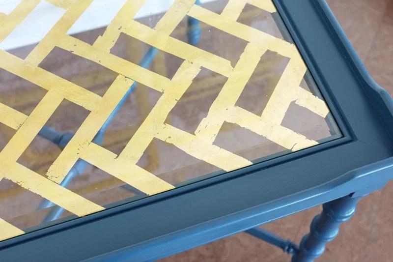 Remodelaholic | DIY Gold Leaf Glass Table Top