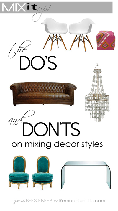 The Do's and Don'ts of mixing decor styles from Remodelaholic.com #moodboard #design #decorating