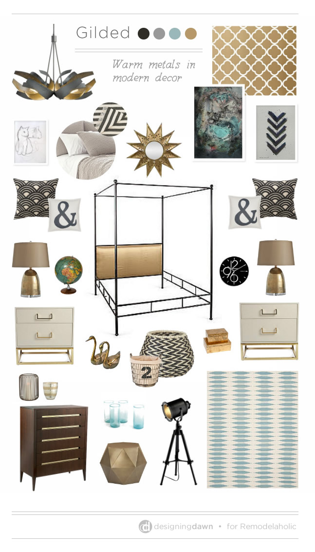 Gilded Mood Board - DesigningDawn for Remodelaholic.com #warmmetals #trending #metallic #olioboard