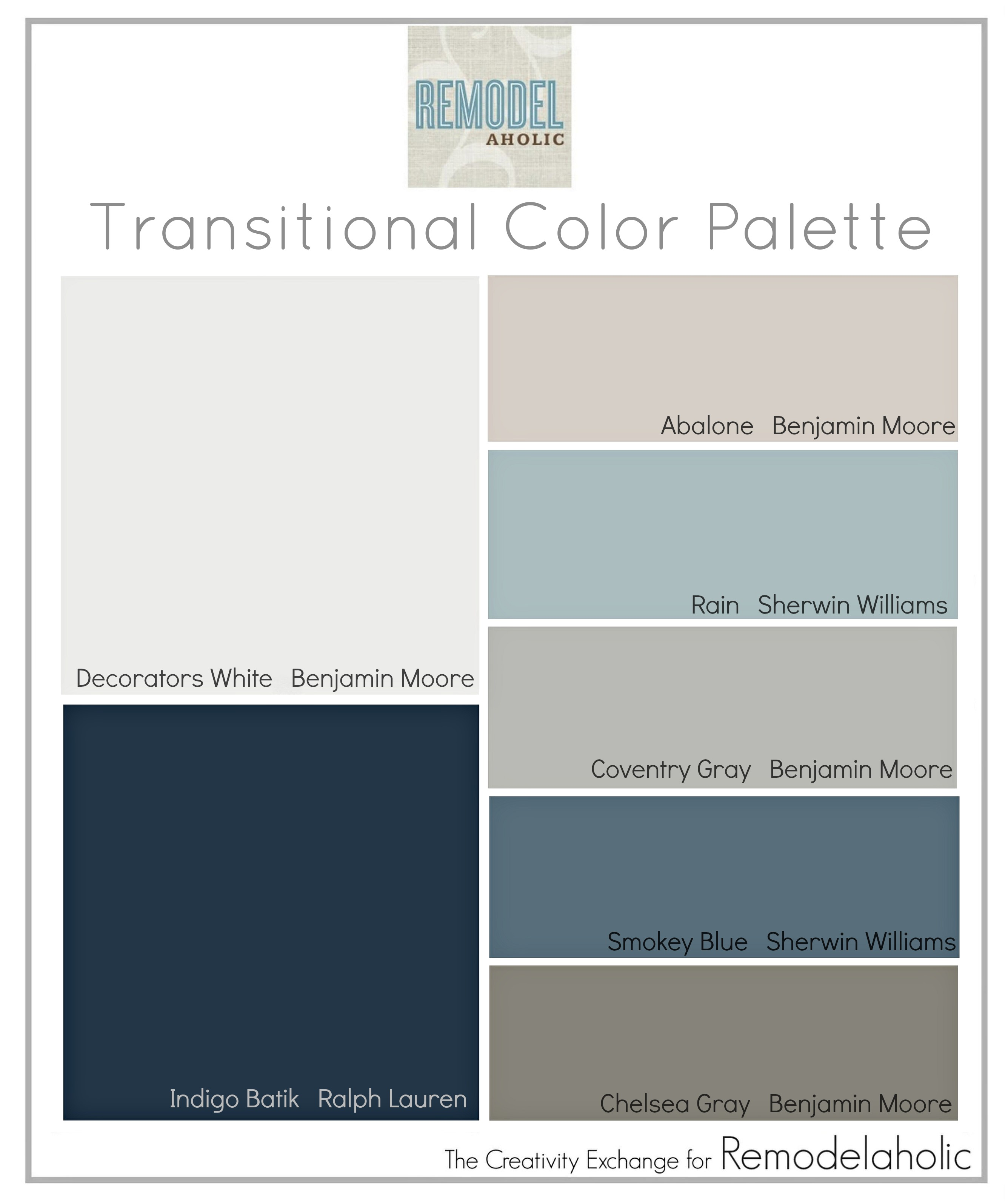 Remodelaholic | Transitional Paint Color Palette on small living room kitchen combo, painting ideas for living room kitchen combo, curtains for living room kitchen combo,