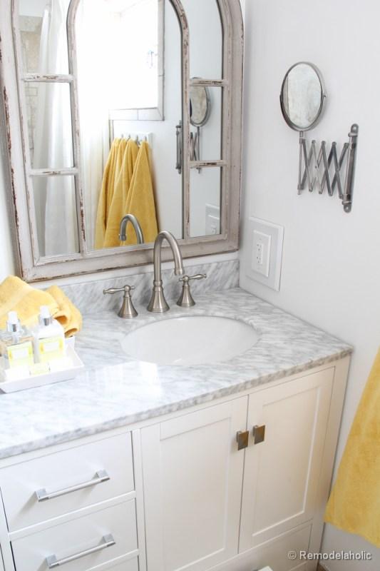 Remodelaholic Updated Bathroom Single Sink Vanity To