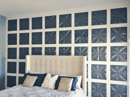 board and batten feature wall using 3D wall panels, Mesmerizing Moments featured on Remodelaholic