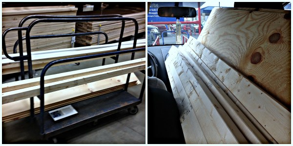 buying lumber for the dining banquette, Pinterior Designer featured on Remodelaholic