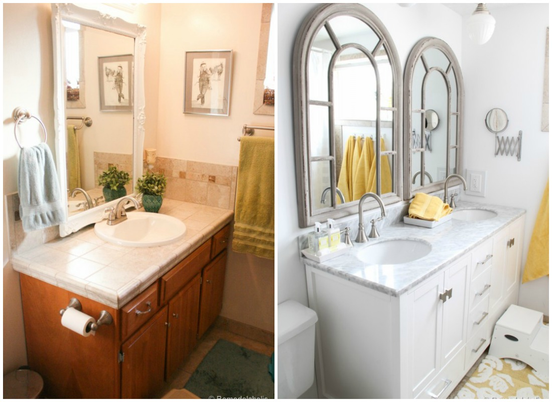 Charmant Double Sink Bathroom Vanity Before And After @Remodelaholic