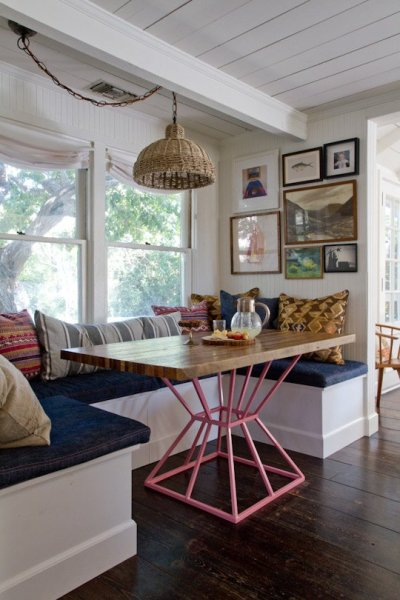eclectic dining banquette bench, via Apartment Therapy