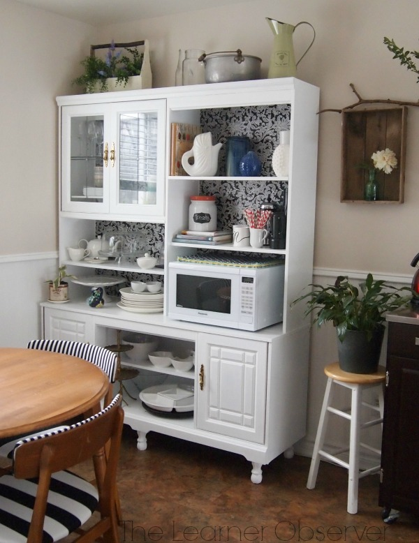 Kitchen Hutch from an 80's Wall Unit, The Learner Observer featured on Remodelaholic #beforeandafter #thrifted #storage