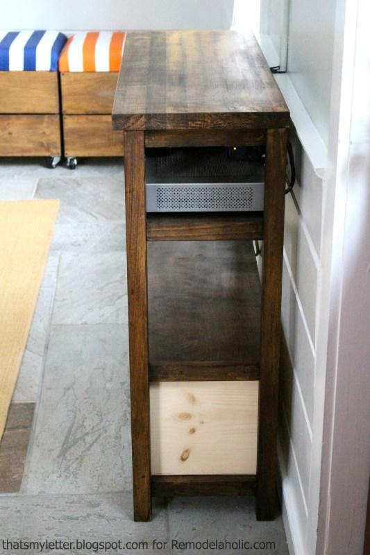 open back media shelf