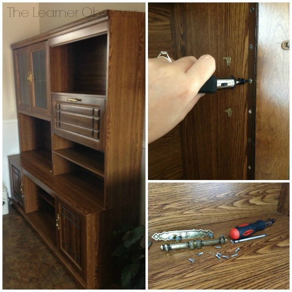 turning a wall unit into a kitchen hutch, The Learner Observer featured on Remodelaholic
