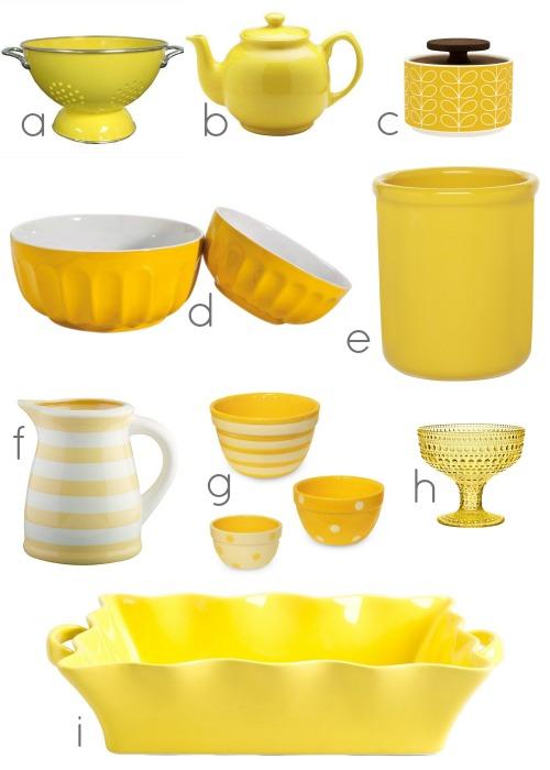 yellow kitchen accessories via #Remodelaholic