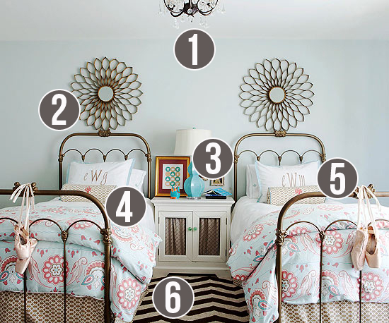 Get This Look - Girls Shared Bedroom Symmetry - Tips from Remodelaholic.com