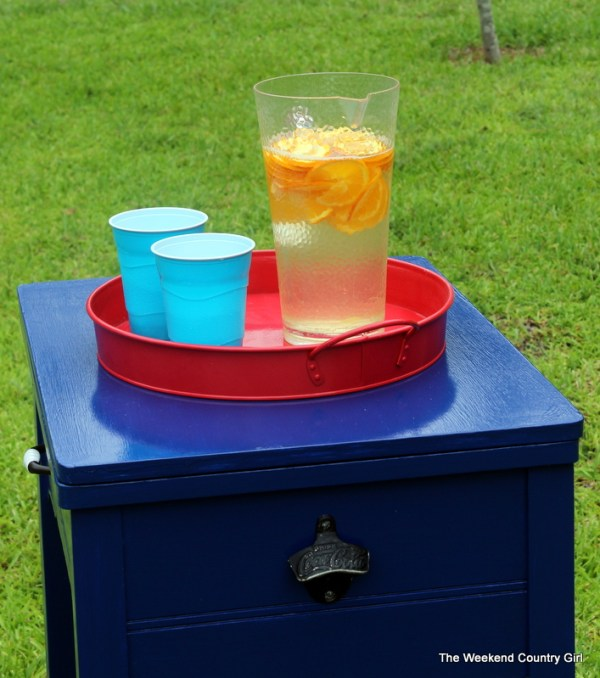 sewing table drink station with bottle opener, The Weekend Country Girl featured on Remodelaholic