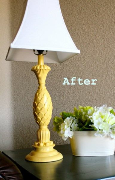 spray painted lamp base, featured on Remodelaholic