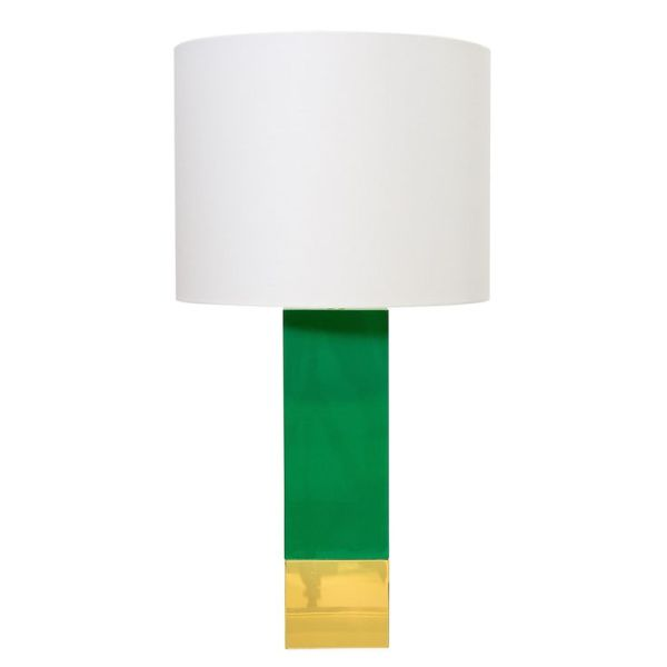 green and gold lamp