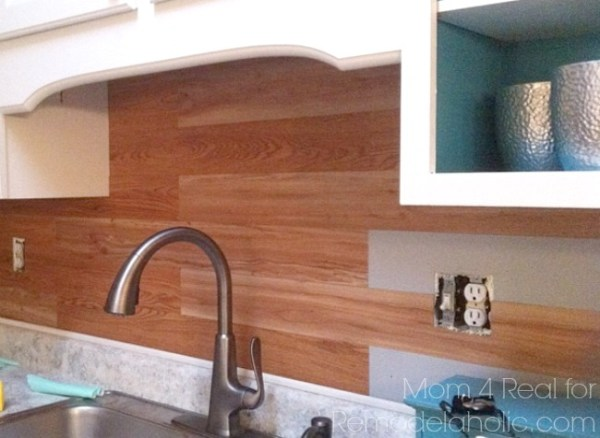 Plank wall backsplash