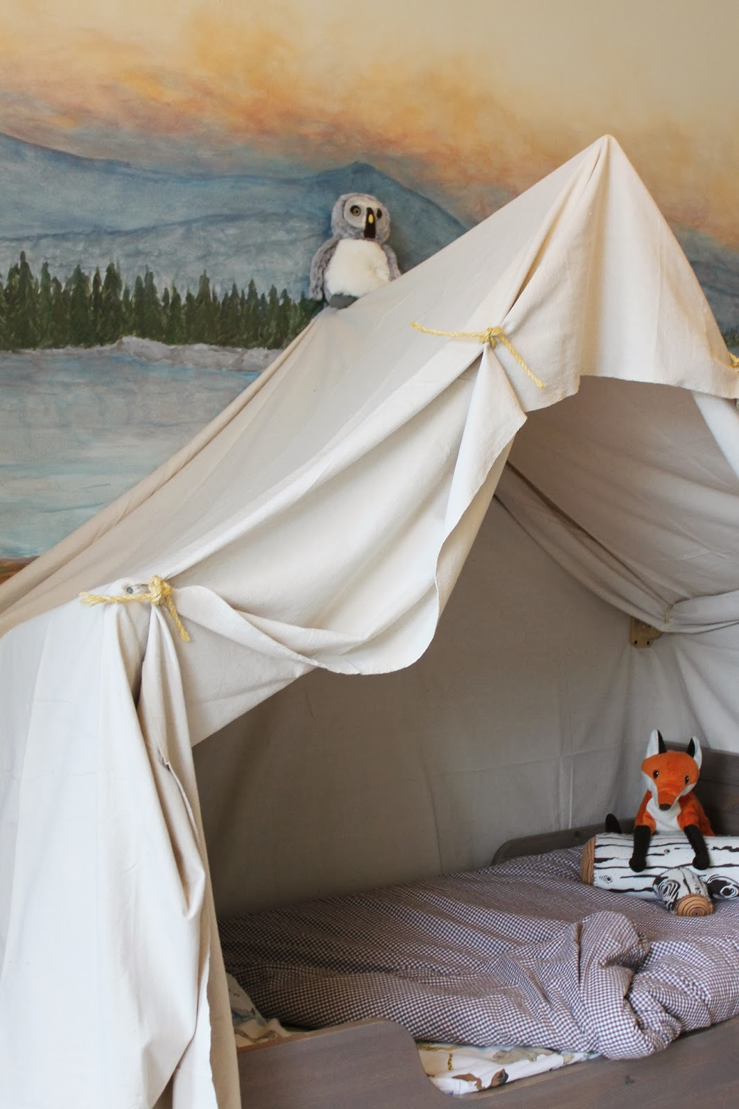 build a kids bed canopy that looks like an indoor c&ing tent The Ragged Wren & Remodelaholic | Camping Tent Bed in a Kidu0027s Woodland Bedroom