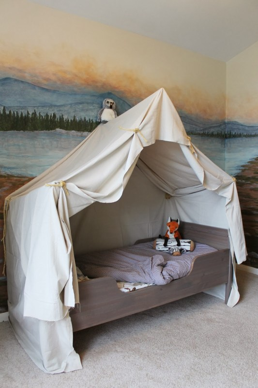 Build an indoor camping tent bed canopy for kids | The Ragged Wren on Remodelaholic.com