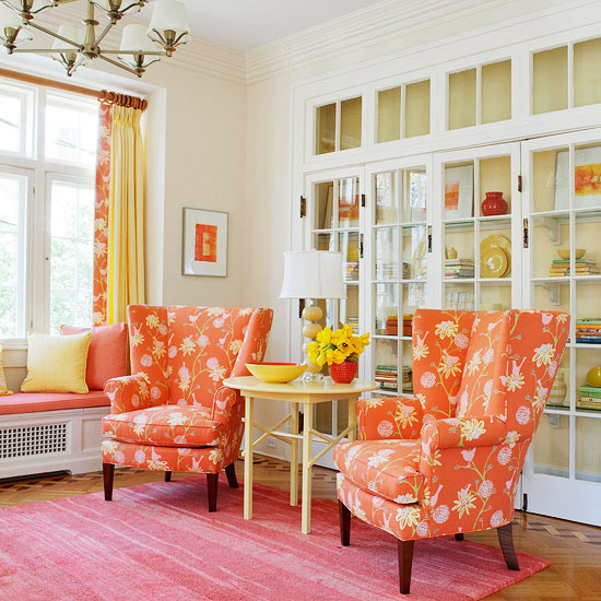 orange living room sitting area