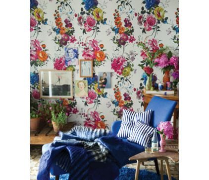 Floral wallpaper as seen on Houzz