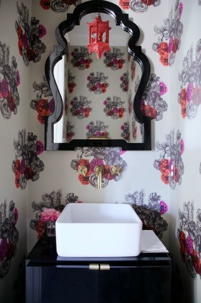 Florals in a powder room