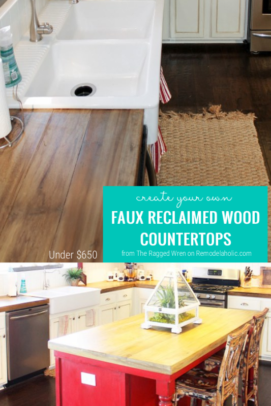DIY Faux Reclaimed Wood Countertops, By The Ragged Wren Featured On @Remodelaholic