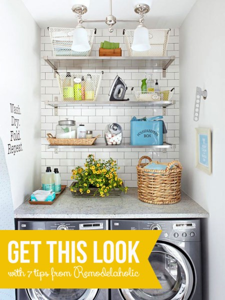 small laundry room with subway tile via Remodelaholic.com