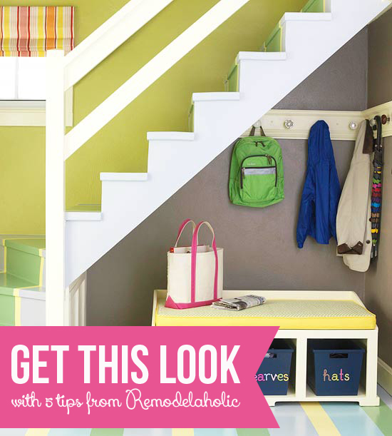 Get This Look - Small-Space Mudroom Under The Stairs via Remodelaholic