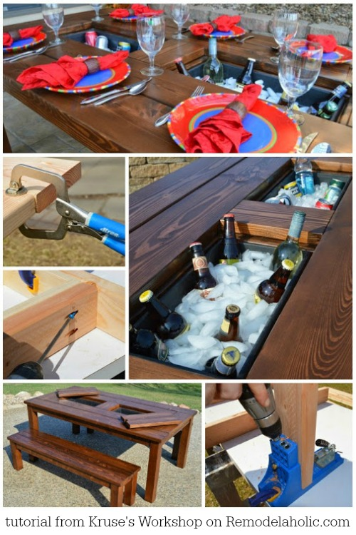 Tutorial For This Awesome DIY Patio Table With Drink Coolers   Kruseu0027s  Workshop On @Remodelaholic