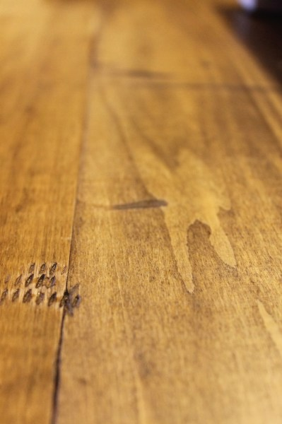 faux reclaimed wood countertop, stained, , The Ragged Wren on Remodelaholic
