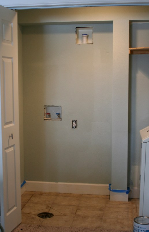 laundry room painted in Quiet Moments by Benjamin Moore, Love Melinda on Remodelaholic
